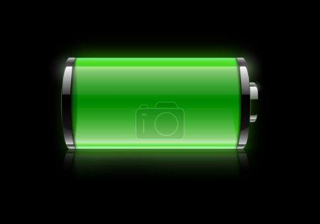 Photo pour Icône batterie complète sur fond noir - image libre de droit