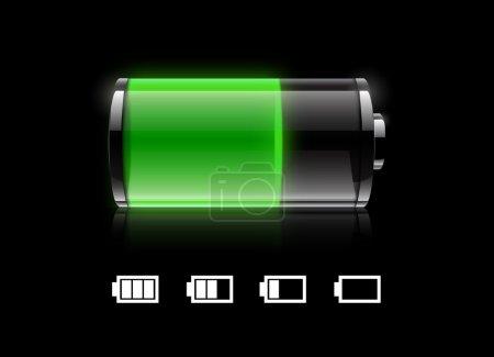Illustration pour Icône de batterie verte sur fond noir - image libre de droit