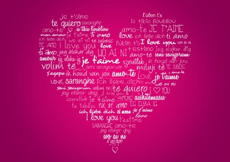 Heart with i love you in different languages...