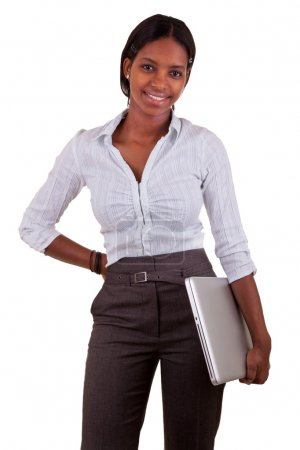 Young African American woman holding a laptop