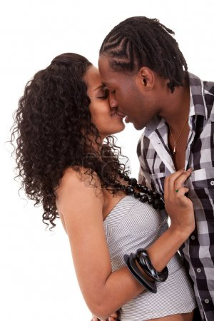 Young beautiful couple kissing