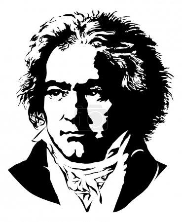 Illustration pour Portrait d'un compositeur et pianiste allemand Ludwig van Beethoven - image libre de droit