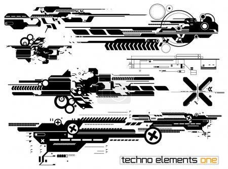 Illustration pour Ensemble de composition techno pour impression multimédia et web - image libre de droit