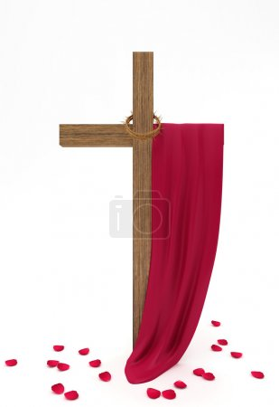 Cross, crown of thorns, the cloth on a white background