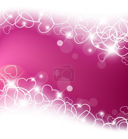Illustration for Love vector background made from white hearts (valentine's day card) - Royalty Free Image