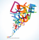Abstract background with colorful rainbow letters
