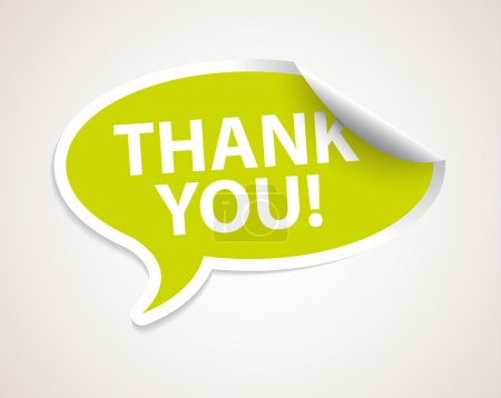 Illustration for Thank you speech bubble as sticker label with white border - Royalty Free Image