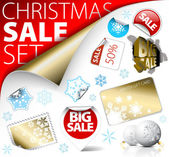 Set of Christmas discount tickets labels stamps