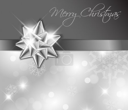 Illustration for Silver ribbon with bow and Christmas abstract background - Royalty Free Image