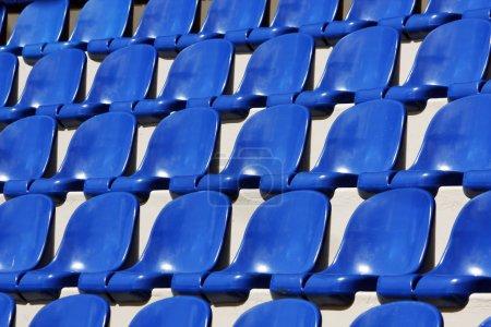 Blue plastic seats