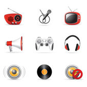 Set of 9 media and music icons