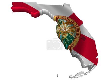 Photo pour Illustration Drapeau et carte de Floride - image libre de droit
