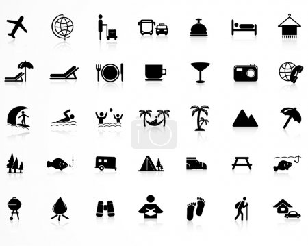 Illustration for Set of black different icons - Royalty Free Image