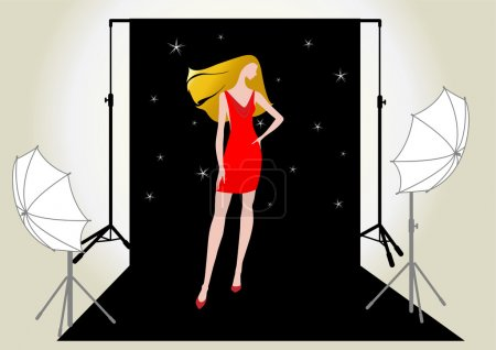 Vector illustration of a girl model in red on the photo shoot