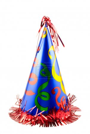 A colorful party hat isolated on white, vertical w...