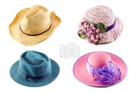 Collage de sombreros sobre fondo blanco