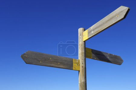 Photo for View of three wooden directional signs on a pole - Royalty Free Image