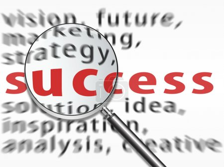 Magnifying glass over success text