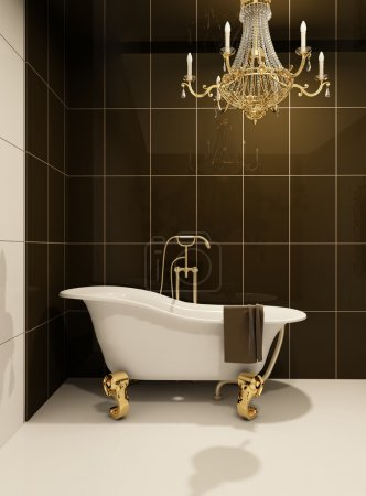 Photo pour Bain de luxe dans la salle de bain. Appartement Royal. meubles baroques en espace de luxe. lustre doré décoratif. tuile - image libre de droit