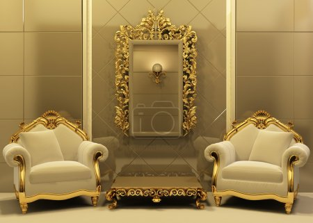 Photo for Luxury armchairs with frame in old style interior. Hall. Royal furniture. Baroque apartment. - Royalty Free Image