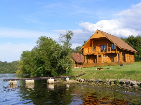 Beautiful wooden house near the river